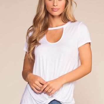 Upstage Keyhole Ruched Tee