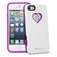 iPhone SE Case, GreatShield RADIANT Series Heart Shape Valentines Day Case for Apple iPhone SE / 5S / 5 (Purple & White)