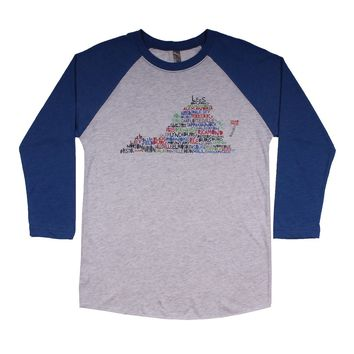 Virginia Cities and Towns Raglan Tee Shirt in Royal Blue by Southern Roots