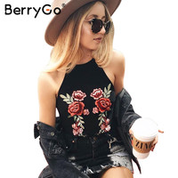 BerryGo Chic floral Embroidery sleeveless camisole Summer black tank top tees Causal streetwear white women tops female cami