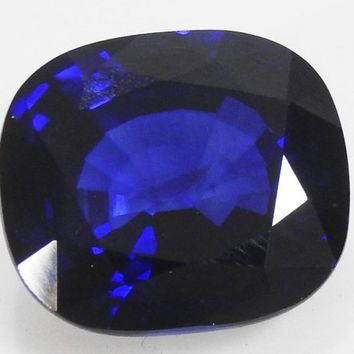Sapphire, Stone For Jewelry, Blue Sapphire, 24.76 ct Cushion shaped lab created Sapphire Top Quality Blue 17x15 mm September Birthstone