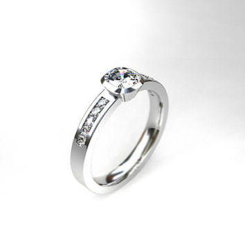 0.50ct Certificated Cushion cut diamond ring, diamond engagement ring, bezel, unique engagement, white gold, rose gold, solitaire, wedding