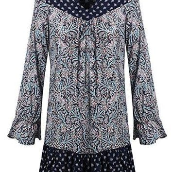 Awesome21 Womens Long Bell Sleeve W Lace Detail All Over Print Loose Fit Dress