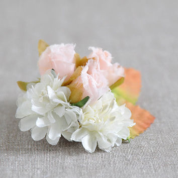 Flower hair clip - bridesmaid flower girl wedding headpiece