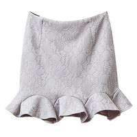 Gray Lace Ruffled Hem Mini Skirt
