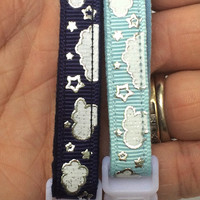 Cloud Cat Collar - Shiny Silver Stars and Clouds on Navy Blue - Kitten or Large Size