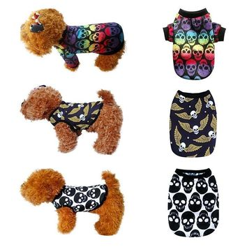 Skull Skulls Halloween Fall Cute  Printed Coats Jackets Outerwear For Small Dogs Cats Pet Supplies Sweater Warm Clothes Winter Outfit XS-XXL Calavera