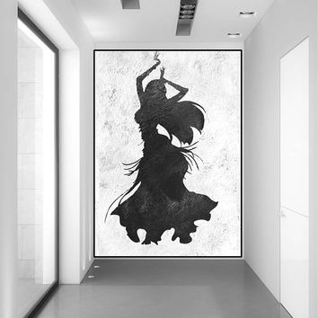 abstract women dancing art painting, original abstract painting on canvas, acrylic painting black and white, large abstract art,