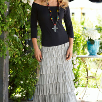 Tiered Knit Skirt - Ruffle Skirt, Broomstick Skirt, Slimming Maxi Skirt | Soft Surroundings
