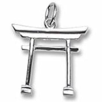 Japanese Tori Gate Charm In Sterling Silver