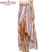 ONLY YOU Falda Larga Verano Womens Long Skirts Ethnic Print Wrapped Beach Bohemian Skirt 2017 High Low Skirt Jupe Longue LC42061