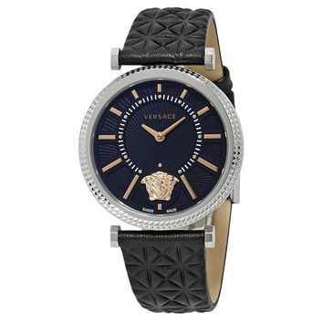 Versace V-Helix Black Dial Leather Ladies Watch VQG020015
