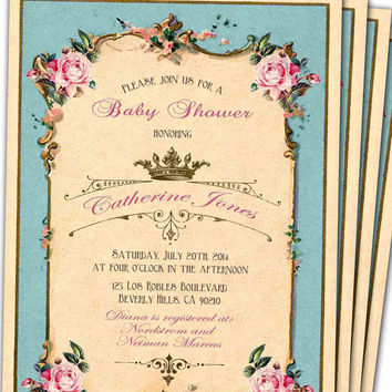 French Royal Tiffany Blue Pink Vintage, Baby shower invitation, Birthday invitation, PRINTABLE, DIY