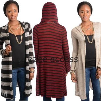 Sexy Womens Long Sleeve Cardigan Sweater Hoodie Duster Coat Jacket Cover Up S-ML