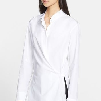 Women's Helmut Lang Cotton Poplin Overlap Shirt,