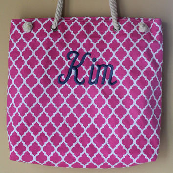 Monogrammed Quatrefoil Beach Bags, Personalized Pool Totes Geometric Design