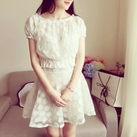 Flower Embroidered Lace Puff Piece Mini Dress