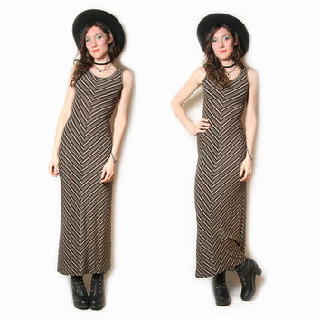 90s Does 70s Chevron Striped Maxi Dress - Womens Chevron Dress - 70s Maxi Dress - 90s Striped Dress - Sleeveless - Boho Hippie 90s Grunge