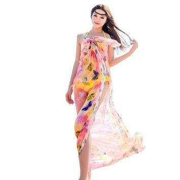Summer Butterfly Love Chiffon Scarf /Beach Cover Up, Sarongs Yellow/Pink
