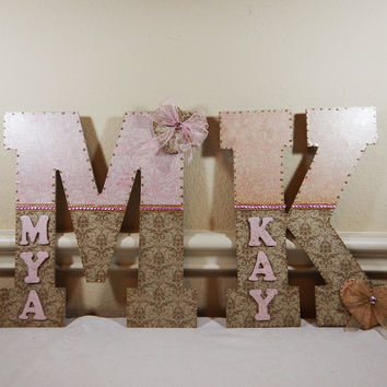 Custom Nursery Letters, Nursery Art, Baby Nursery Decor, Children's Room, Wall Art, Name, Custom Letters, hanging decoration, birthday gift