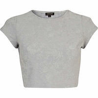 Grey floral jacquard cap sleeve crop top - tops - sale - women