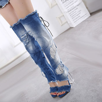 Women Shoes Denim Jeans 2017 High Heel Summer Ankle Boots Sexy Knee High Gladiator Sandals Fashion Transparent Heel Denim Shoes