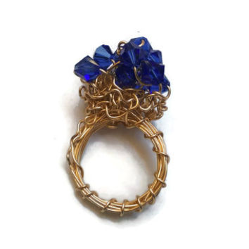Blueberry Hill - Swarovski Dark Sapphire and Gold Wire-Wrapped Art Statement Ring - Size 6.5 - RIN059