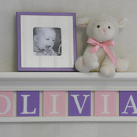 "Purple Pink Kids Wall Shelf - Nursery Shelves - 24"" Linen White Shelf with 6 Wooden Letter Plaques in Light Pink and Lilac - OLIVIA"