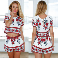 Fashion Summer Women Floral Printed Floral Printed Casual Shorts Top Trousers Pants _ 7417