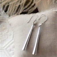 Vintage Sterling Silver Mid Century Southwestern Elongated Cone Dangle Earrings
