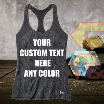 Custom Under Amour  Womens Heat Gear Armour Tank Top  Personalized in any Texts-Colors  Great Quality Tank Limited Quantity Perfect  Workout