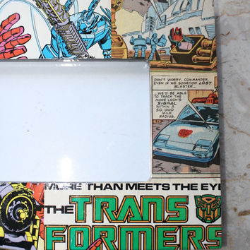 "1987 Comic book desk/table Frame Featuring Transformers Frame 9.5"" x 7.5"" picture 4 X 6"