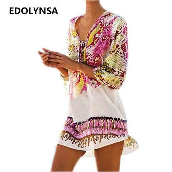 DCCKL6D New Arrivals Beach Caftan Swimsuit Cover up Print Chiffon Pareo Women Robe Plage Swimwear Dress Sexy Sarong Beach Tunic #Q152
