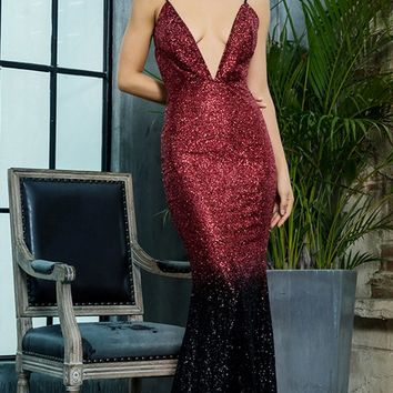 VIP List Burgundy Black Glitter Gradient Ombre Sleeveless Spaghetti Strap V Neck Mermaid Maxi Dress