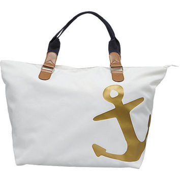 Nautical Anchor White Cream Gold Navy Blue Cream Khaki Tote Bag Purse