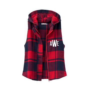 Womens Plaid Checkered Zip Up Hoodie Vest, Custom Embroidered Monogram Buffalo Plaid Vest, Gift for Her from Mom, Plaid Vest, Red and Navy