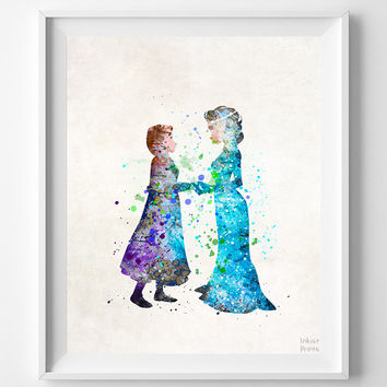 Elsa and Anna Print, Frozen Watercolor, Disney Poster, Playroom Wall Art, Dorm Room Art, Nursery Wall Art, Street Art, Halloween Decor