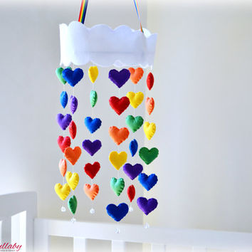 Rainbow hearts cloud mobile - Felt Rainbow heart mobile with crystal beads - kids decor - MADE TO ORDER