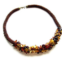 "The Retro Rope is Beautiful Handmade Necklace ""Baltic amber"", Necklace with Baltic Amber and glass beads, Beaded necklace - rope"
