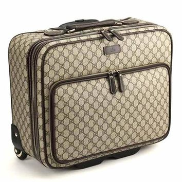 Gucci Men's Carry On Diamante Supreme Canvas Leather Luggage with Wheels 246459