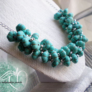 Turquoise Beaded Statement Necklace  Turquoise Chunky Necklace  Turquoise Beads  Spring Fashion Jewelry  Unique Beaded Necklace  Teal Beads