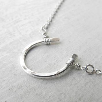 Minimalist Sterling Silver Horseshoe Necklace | Handmade Good Luck Charm