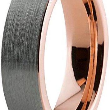 Rose Grey Tungsten Wedding Ring Flat Cut Comfort Fit and Brushed Polished - 6mm