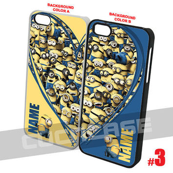 Valentine Minion Duo Cases for the iPhone 4 5 Samsung Galaxy S3 S4 Sony Xperia Z Handmade Custom Heart Case Gift BFF Best Friend