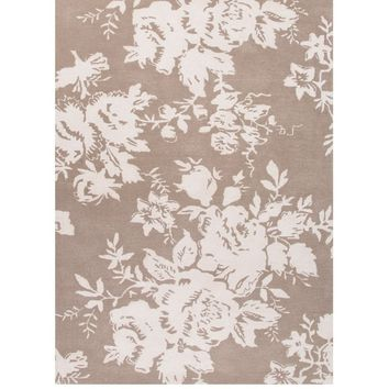 Vintage Roses Taupe Area Rug
