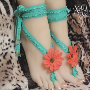 Turquoise Coral Flower Barefoot Sandals Boho Shabby Chic