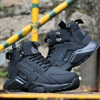 Sale Nike Air Huarache X Acronym City Customise MID Leather Sport Shoes All Black
