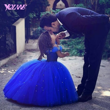 Cinderella Flower Girl Dresses Ball Gown Beauty Pageant Off the Shoulder Tulle Crystals Lace Up Vestido De First Comunion