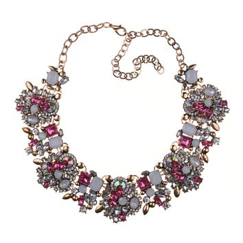 Royal Stone Choker Necklace in Sparkly Pink Rhinestones
