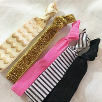Pretty Pink Gold Black and White Ivory Hair Tie Set of 5 Five Ties Hippie Crease Less Tabgle Free Bracelets